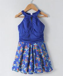 Rovars Sleeveless Frock Swimsuit Floral Print - Royal Blue
