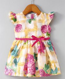 Dew Drops Cap Sleeves Floral Frock - White Yellow