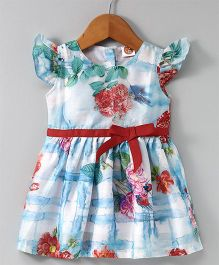 Dew Drops Cap Sleeves Floral Frock - White Sky Blue