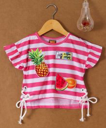 Little Kangaroos Half Sleeves Crop Top Stripes Print - Pink & White
