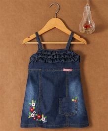 Little Kangaroos Dungaree Style Singlet Dress With Embroidered Detailing - Dark Blue