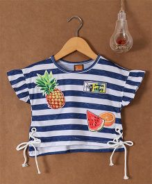 Little Kangaroos Half Sleeves Crop Top Stripes Print - Blue  & White