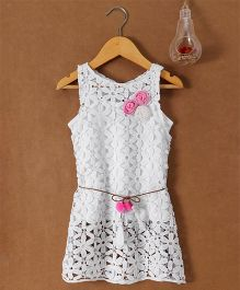 Little Kangaroos Singlet Top With Crochet Frock - White