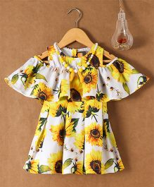 Little Kangaroos Cold Shoulder Top With Neck Piece Floral Print - Yellow White