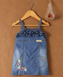 Little Kangaroos Dungaree Style Singlet Dress With Embroidered Detailing - Light Blue