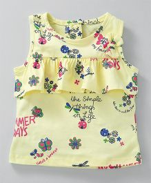 Little Kangaroos Sleeveless Top Floral Print - Yellow