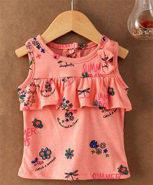 Little Kangaroos Sleeveless Top Floral Print - Dark Peach