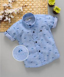 Jash Kids Half Sleeves Shirt Scooter Print - Light Blue