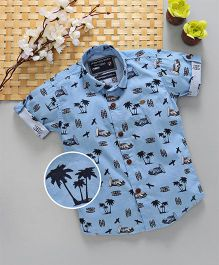 Jash Kids Half Sleeves Shirt Tree Print - Blue
