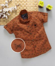 Jash Kids Half Sleeves Shirt Butterfly Print - Rust Brown