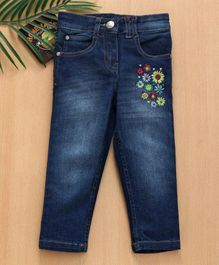 Babyhug Full Length Denim Floral Embroidered Jeans - Dark Blue