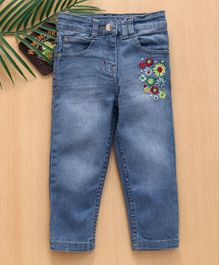 Babyhug Full Length Denim Floral Embroidered Jeans - Light Blue