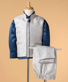 Babyhug Full Sleeves Shirt And Trouser With Waistcoat - Blue Cream