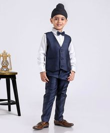 Babyhug Full Sleeves Shirt And Trouser With Waistcoat - Navy Blue