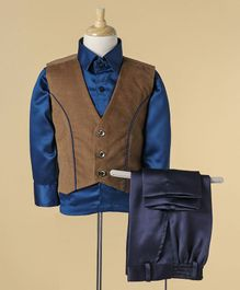 Babyhug Full Sleeves Shirt And Trouser With Waistcoat - Blue Brown