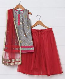 Saka Designs Sleeveless Divider Lehenga Set Floral Print - Grey Red