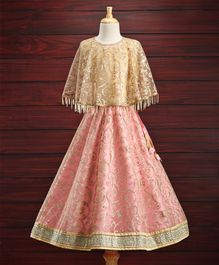 Saka Designs Poncho Style Lehenga Set Glitter Spiral Embroidered - Pink Gold