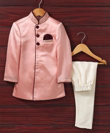 Babyhug Full Sleeves Sherwani With Pajama - Pink