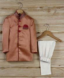 Babyhug Full Sleeves Sherwani With Pajama - Rust Orange