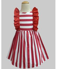 A.T.U.N Stripe Ruffle Dress - Maroon
