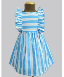 A.T.U.N Columbus Cloud Stripe Ruffle Dress - Sky Blue