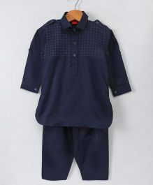 Ethnik's Neu Ron Full Sleeves Collar Neck Kurta & Pajama Set - Navy
