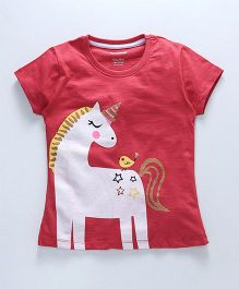 Cucumber Short Sleeves Top Unicorn Print - Red