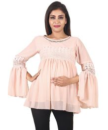 9teenAGAIN Long Sleeves Maternity Top - Peach
