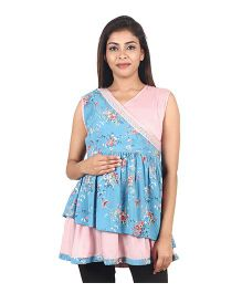 9teenAGAIN Floral Print Sleeveless Maternity Top - Blue & Pink