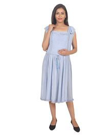 9teenAGAIN Rayon Crepe Maternity Dress - Light Blue