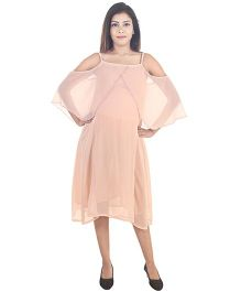 9teenAGAIN Solid Cold Shoulder Maternity Dress - Peach