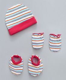 Babyhug Cap Mittens & Booties Set Stripes Print - Multi Colour