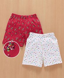 Babyhug Casual Shorts Floral & Polka Print Pack of 2 - Red White