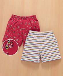 Babyhug Casual Shorts Floral & Stripes Print Pack of 2 - Red White