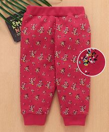 Babyhug Full Length Lounge Pant Floral Print - Red