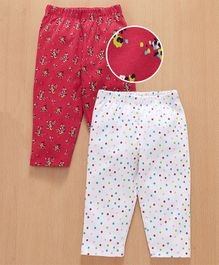 Babyhug Full Length Lounge Pants Floral & Polka Print Pack of 2 - Red White