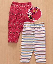 Babyhug Full Length Lounge Pants Floral & Stripes Print Pack of 2 - Red White