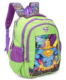 DC Comics Superman School Bag Green - Height 16 inches