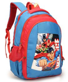 DC Comics Justice League School Bag Blue Red - Height 18 inches