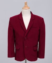 Babyoye Full Sleeves Party Wear Corduroy Blazer - Maroon