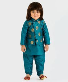 Babyoye Full Sleeves Kurta And Pajama With Waistcoat Floral Design - Teal Blue