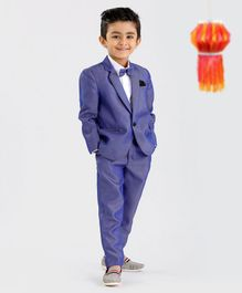 Babyoye 3 Piece Textured Party Suit With Bow - Blue