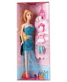 Fashion Doll With Accessories Blue - Height 29 cm
