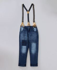 Babyoye Full Length Jeans With Suspenders - Blue