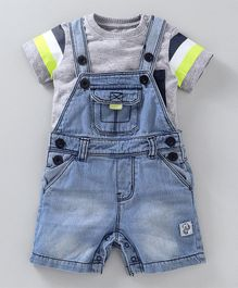 Babyoye Dungaree Style Denim Romper With Inner Tee - Grey Blue