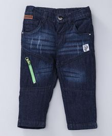 Babyoye Full Length Jeans With Adjustable Elasticated Waist - Dark Blue