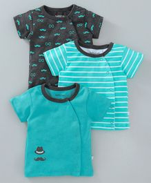 Babyoye Half Sleeves Vests Stripes & Moustache Print - Teal Dark Grey