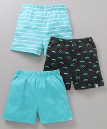 Babyoye Casual Shorts Stripes & Moustache Print Pack of 3 - Teal Blue