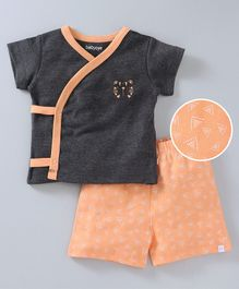 Babyoye Half Sleeves Vest & Shorts Set Tiger Print - Dark Grey Peach