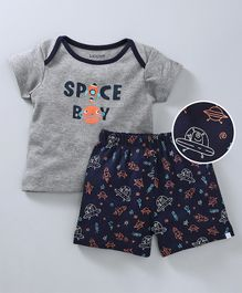 Babyoye Half Sleeves Tee & Shorts Set - Grey & Blue